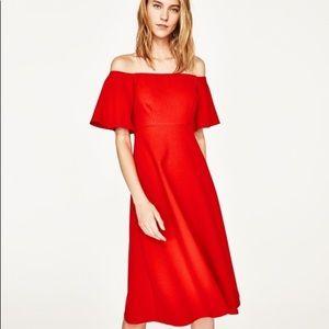 Zara Red cocktail dress off shoulders midi NWT XS